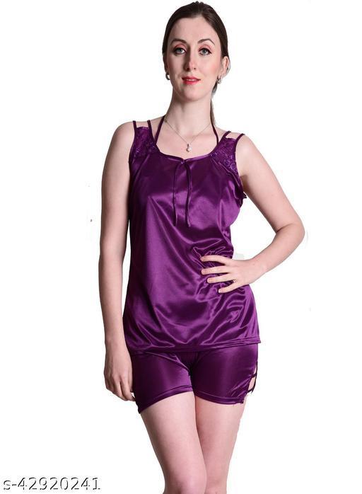 Senslife® Purple Satin Nightwear Top & Shorts Set