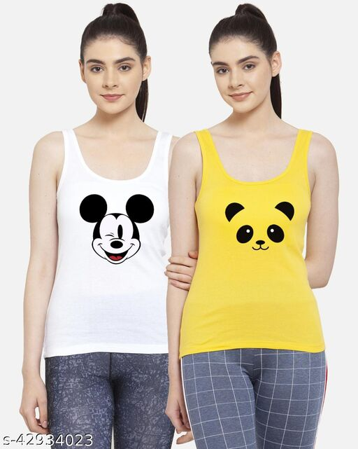 Women White Yellow Mickey Mouse Panda Casual sleeveless camisole