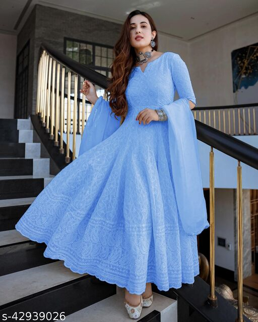 Sky Blue Designer Anarkali Suit In Georgette With Lucknowi Chikankari Embroidery Work