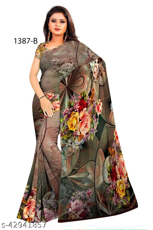 P D Silk Mills Special Georgette DIGITAL saree with blouse PARTY WEAR