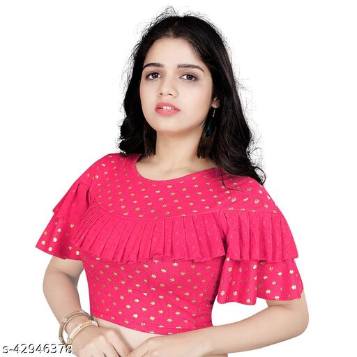 Women's Pink Round Flared Neck Foil Print Cotton Lycra Fully Stitched Fancy Blouse
