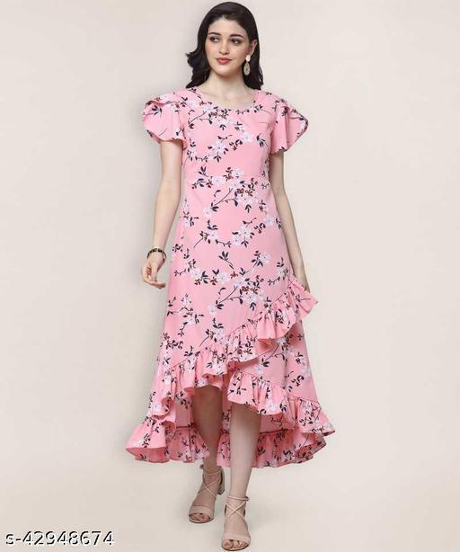 Women Floral Printed Crepe Ruffled Pink Dress