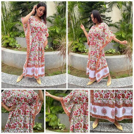 Shivanya Handicrafts Women's Pure hand block Bagru  and indigo / shibori Print Kaftan Length 52 inch Free size_SHS_056