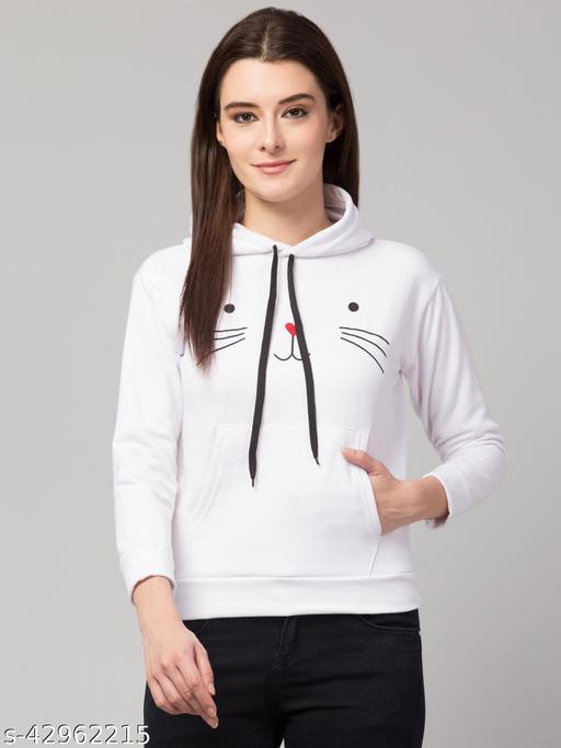 Cat Printed Full Sleeve Hoodie For Women White