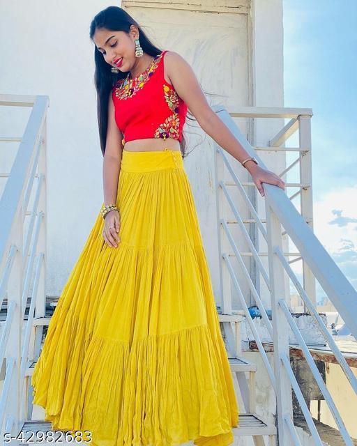 Yellow And Red Designer Lehenga Choli With Hand Word