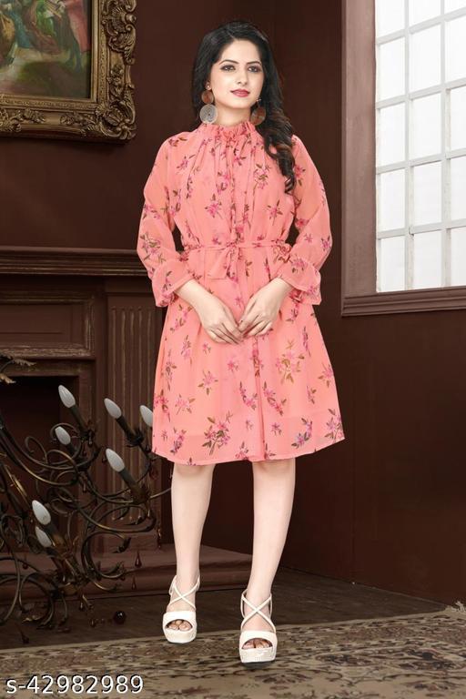 Imported Designer Off-Shoulder Digital Flower Printed Pleated Dresses