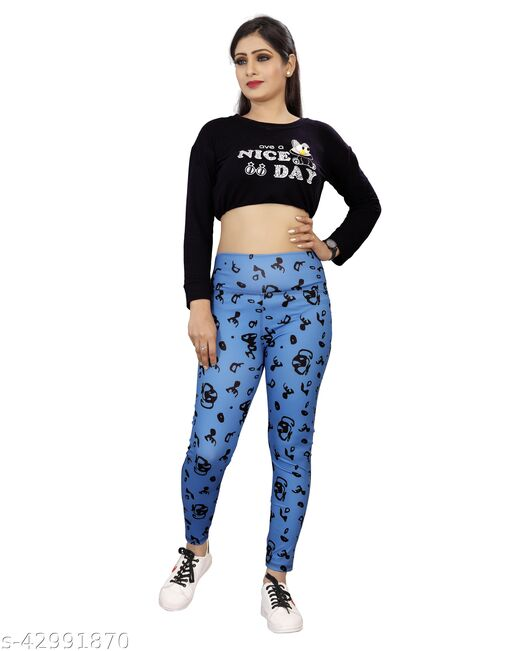 Classy Fashion Premium Quality four-way Lycra Fabric with Multi Colour Digital Print Regular and Gym wear Active Wear Tights Stretchable Leggings for all age women pant