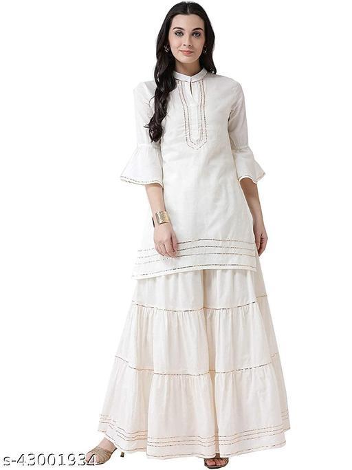 Cotton Flared Wide Legged Sharara Palazzo Pants Soft Cotton with Gotta Lace Stylish Bottoms Wear Casual and Festive Purpose Gharara/Sharara.Single