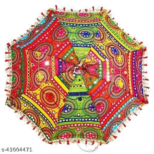 Traditional Rajasthani Handicraft Decoration Umbrellas Embroidery Designer Cotton Umbrella, (Multicolored and Multi-Design)-Pack of 1(Size 24x28 inch)