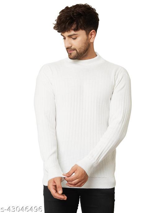 Men High Neck White Sweater