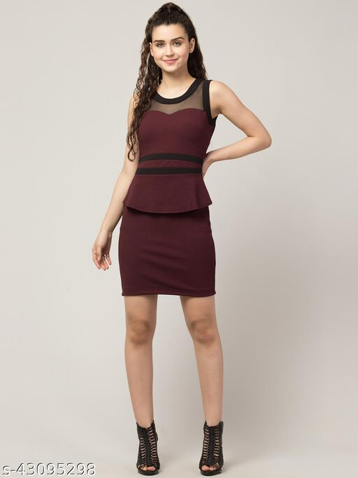 RVS FASHION MART Women Bodycon Wine & Black Dress