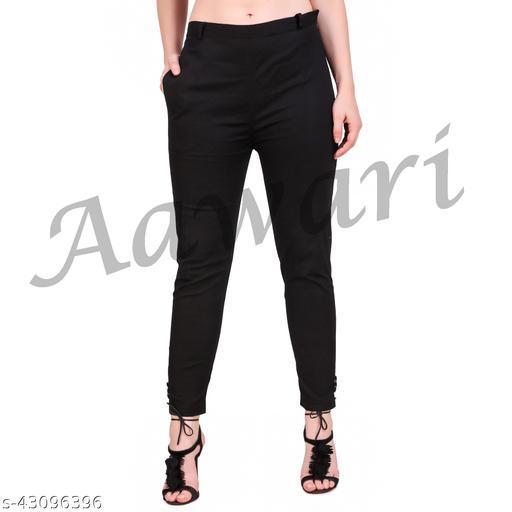 Aawari Plain Lycra Pants For Women and Girls Black