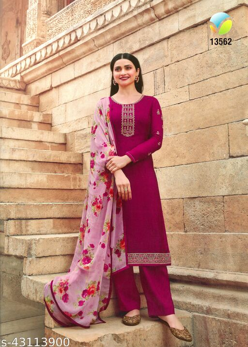 Embroidered French Crepe Solid Semi Stitched Salwar suit
