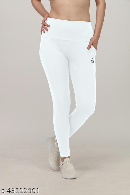 Stylish DRYFIT Ladies Tights ( Plain JaggieS - WHITE )