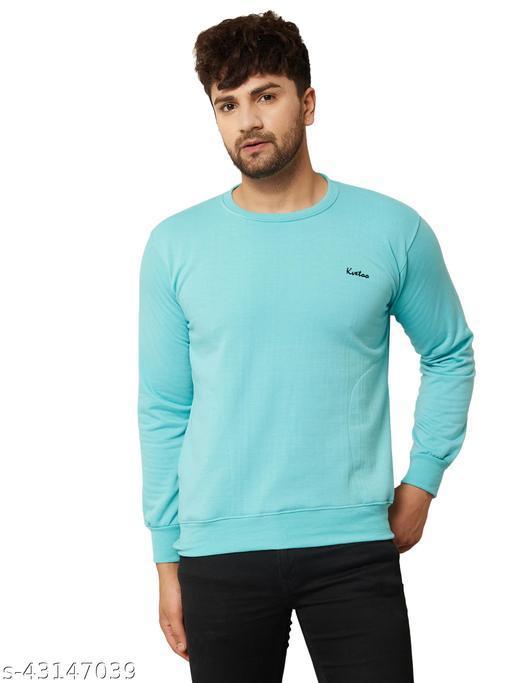 Men Solid Sea Green Round Neck Woolen Winter Sweatshirts With Pocket