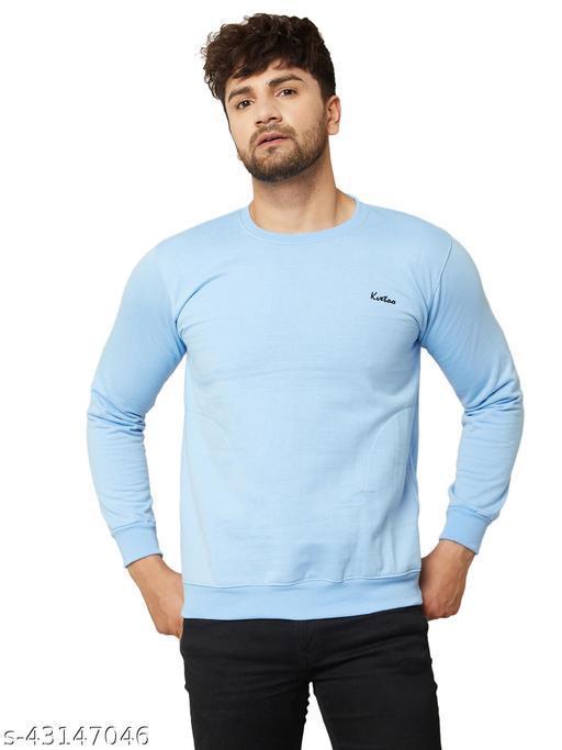 Men Solid Sky Blue Round Neck Woolen Winter Sweatshirts With Pocket