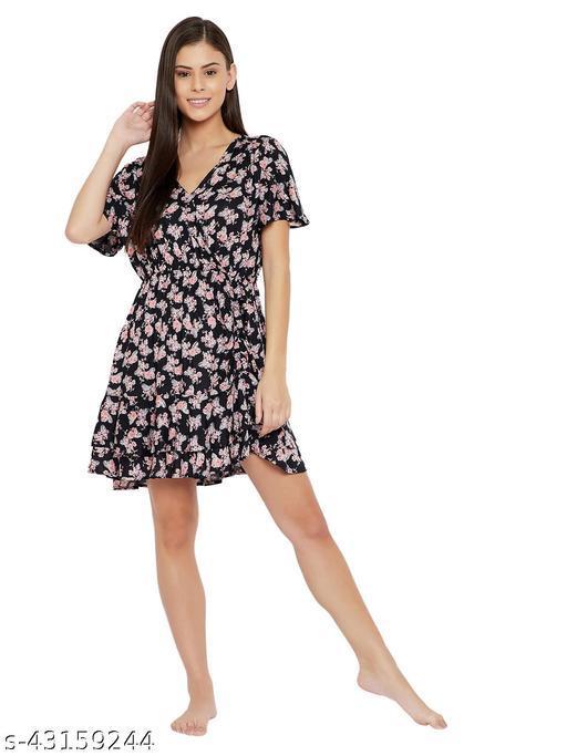 Rayon Floral Printed Beachwear Short Dress