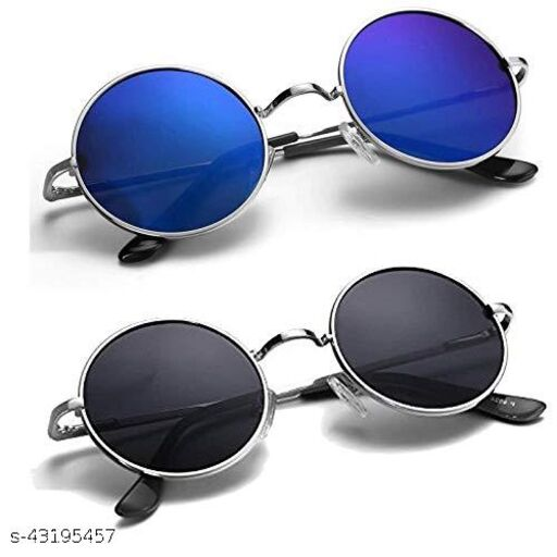 New Fashion UV Protection Round Unisex Sunglasses (Black, Blue) - Pack of 2 Girls&Boys