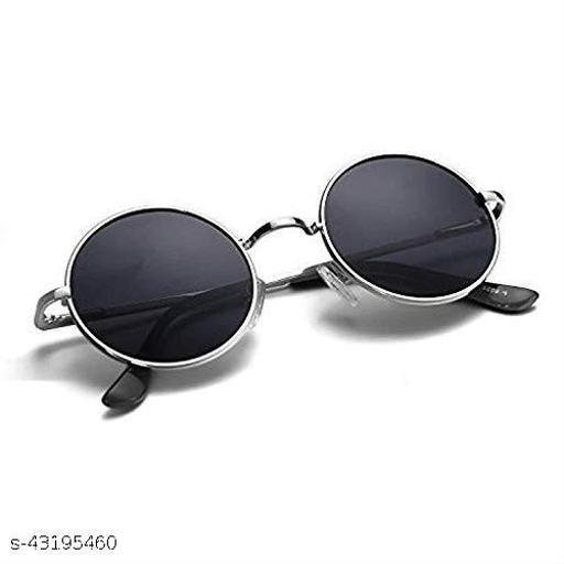 New Fashion Men's and Women's Round Sunglasses , Black, Medium