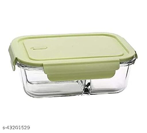 Glass Food Storage Container With 2 Partition Lock & Seel Lid Airtight For Fruit , Food & Groceries - 430 ml