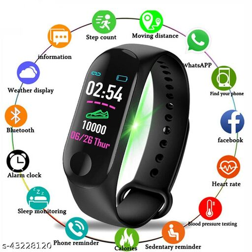M3 Smart Watch Band Fitness Tracker with Activity Tracker  Like Steps Counter,Bp, & OLED Touchscreen  Tracker Heart Rate Blood Pressure Fitness.