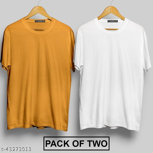 Mens Solid Plain Round Neck Tshirt Pack of 2