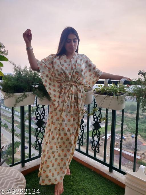 Woman Cotton Kaftan Gowns