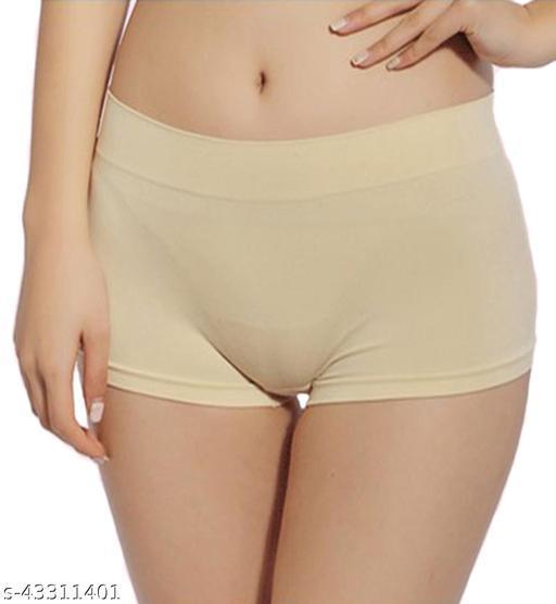 Women Bikini Beige Cotton Blend Panty