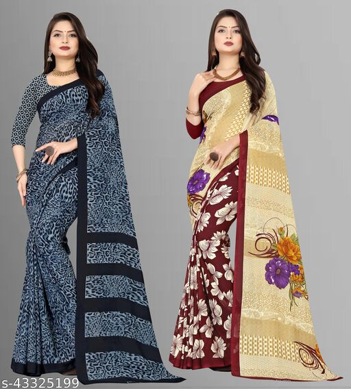 Combo of 2 , Georgette Sarees with Blouse Piece