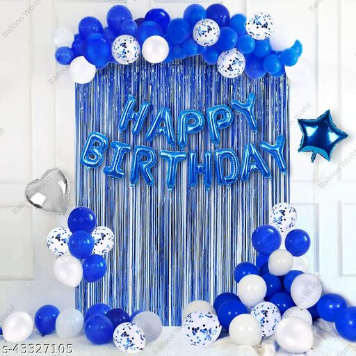 Balloon World Blue Birthday Party Decorations Set with Happy Birthday Balloons Banner, Confetti Balloons, Foil Fringe Curtain for Birthday Party Supplie.