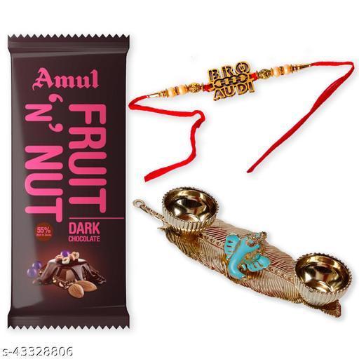 Rakhi Rakshabandhan Chocolate Gift Hamper for Brother with 1 Rakhi, 1 Amul Fruit 'N' Nut chocolate and 1 Pooja Thali