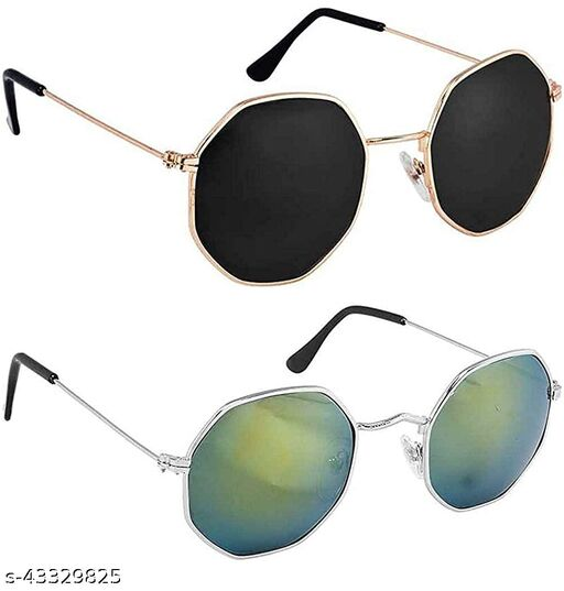 JUST-STYLE Unisex Adult Round Sunglasses Combo Pack of 2 (Black,Green)