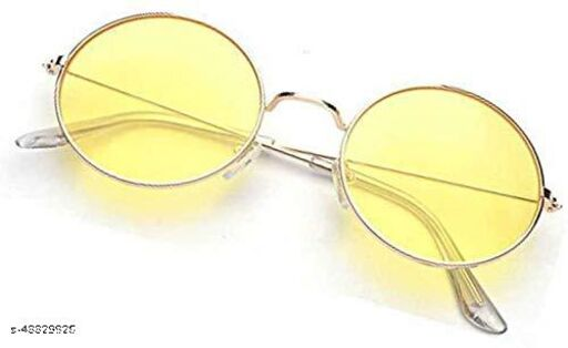 JUST-STYLE UV Protection Round Sunglasses (Red-Yellow) - Pack of 2, Free Size