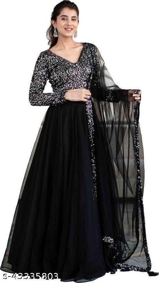 HV Women's Huma Black Embroidered Latest Bollywood Designer Party Wear Lehenga Choli