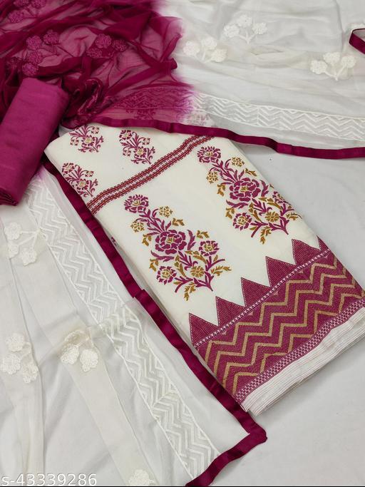 Suhati Fab White & Magenta Chanderi Unstitched Dress Material