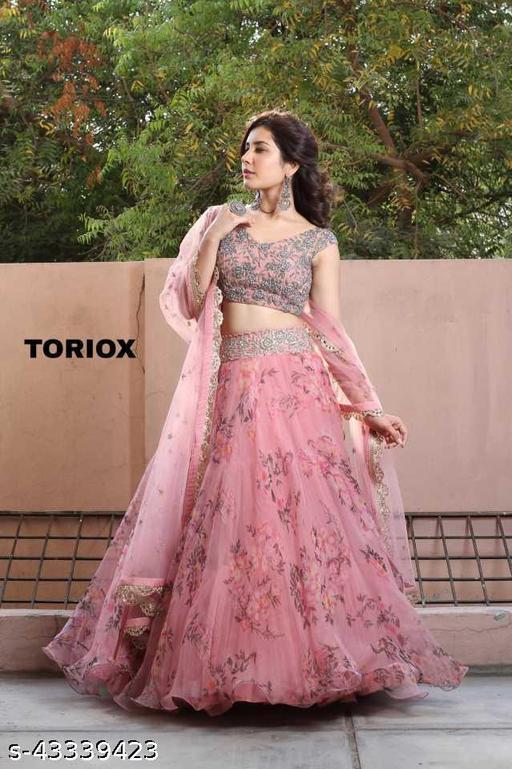 HV Women's Hina Pink Embroidered Latest Bollywood Designer Party Wear Lehenga Choli