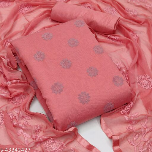 Suhati Fab Coral Pink Chanderi Unstitched Dress Material