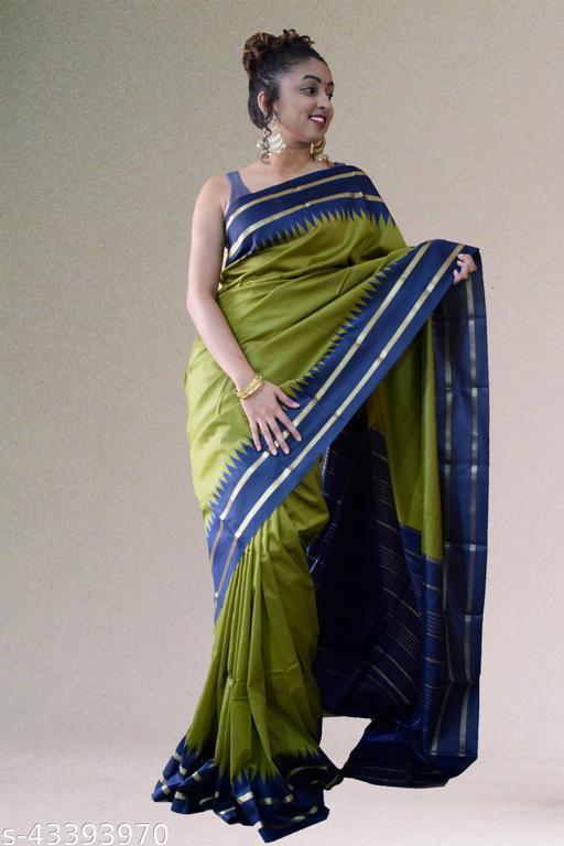dakshin grandeur Striped Fashion Olive green Art Silk Saree