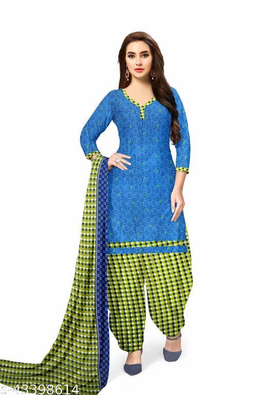 Blue Floral Print Leon Unstitched Salwar Kameez With Dupatta