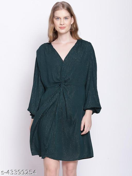 Teal Green Tailored Lurex Stripe Dress