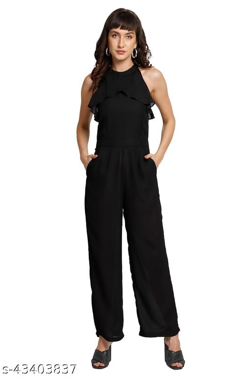 Black Halter Neck Formal Jumpsuit