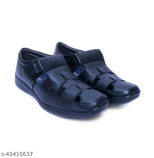 L-FOXY Black Synthetic Leather Sandals