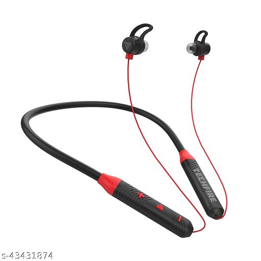 TECHFIRE Fire 100 Bluetooth 5.0 Wireless Headphones with Hi-Fi Stereo Sound, 10Hrs Playtime, Lightweight Ergonomic Neckband, Sweat-Resistant Magnetic Earbuds, Voice Assistant & Mic (Red) HOT DEAL
