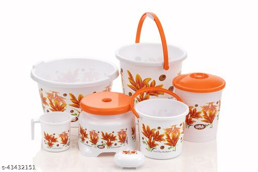 Bathroom Set - Plastic Big Bucket, Mug, Stool, Dustbin, Small Bucket, Soap Dispenser(7 Piece)-Orange
