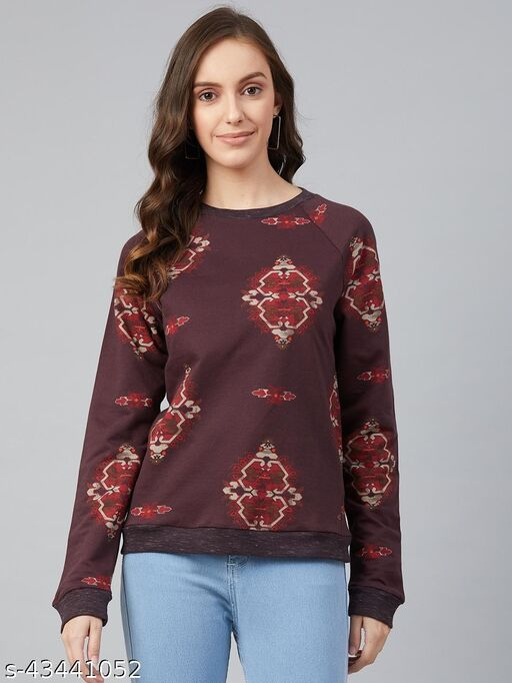 I AM FOR YOU Women Burgundy & Maroon Cotton Printed  Sweatshirt