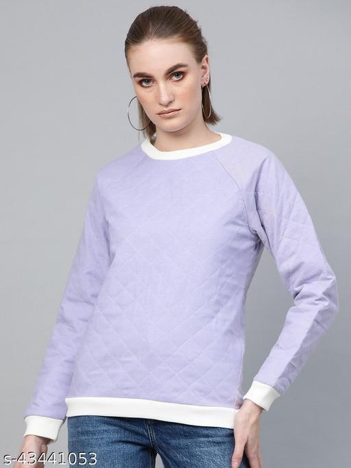 I AM FOR YOU Women Lavender Solid  Cotton Sweatshirt