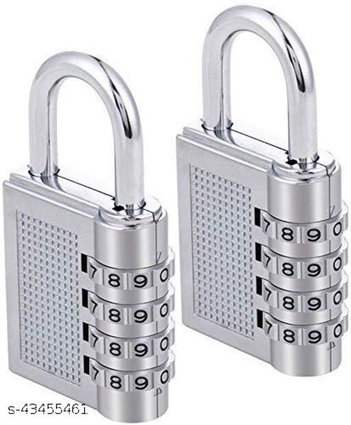 Rangwell 4-Digit Safe PIN Hand Bag Shaped Painted Finish Combination Padlock Lock(silver pad lock pck 2)