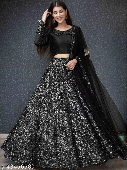 Silver and black Velvet Semi-stitched Lehenga Choli LC 290