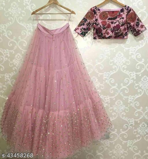 Pink Colored Blouse Embroidered Work Attractive Party Wear Lehenga Choli --LC244