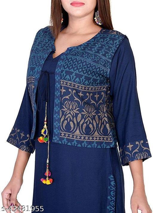 Women Rayon printed Blue Kurti With jacket